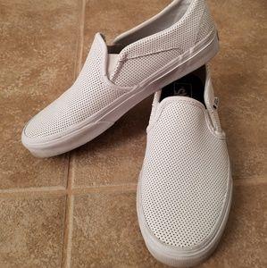 VANS White Leather Classic Slip-On Womens Shoe